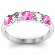 1.00 cttw Pink Sapphire and VS Diamond 5 Stone Ring