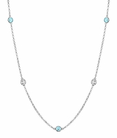 Bezel Aquamarines and I1 Diamonds by the Inch Necklace