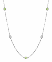 Station Necklace with Peridot and VS Diamond