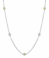 1.00 cttw Yellow Sapphires and SI Diamonds Station Necklace