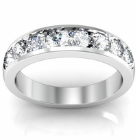 1.00cttw Channel Set Round Diamond Wedding Band Ring