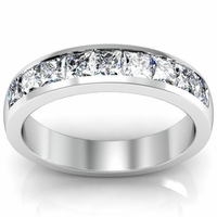 1.00cttw Princess Cut Channel Set Diamond Wedding Ring