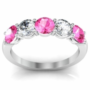 1.50 cttw Pink Sapphire and SI Diamond 5 Stone Ring