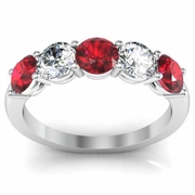1.50 cttw Ruby and SI Diamond 5 Stone Ring