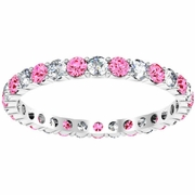 1 Carat Diamond and Pink Sapphires Eternity Ring