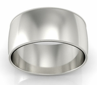 10mm Milgrain Wedding Ring in 18k