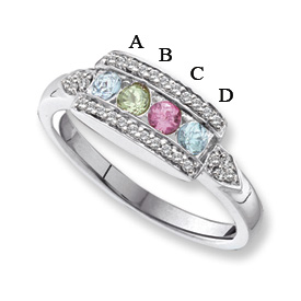14 Karat Gold Mother's Ring with Four Birthstones and Engraving