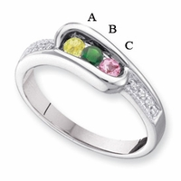 14 Karat Gold Personalized Mother's Ring with Three Birthstones
