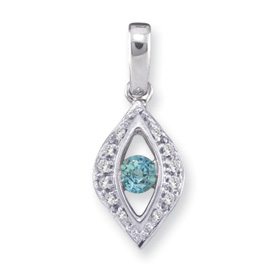 14k Channel Set Mother's Day Pendant with One Genuine Birthstone