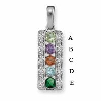 14k Channel Set Mother's Pendant with Five Genuine Birthstone
