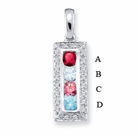 14k Channel Set Mother's Pendant with Four Genuine Birthstones