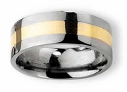 14k Gold and Titanium Ring Flat Polished Finish in 8mm