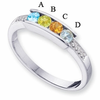 14k Gold Mother's Ring with Four Personalized Birthstones and Diamonds
