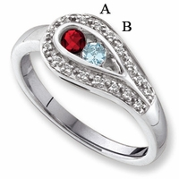 14 Karat White Gold Birthstone Ring
