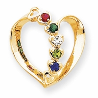 14k Mother Pendant Heart with Five Birthstones