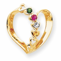 14k Mother Pendant Heart with Four Birthstones