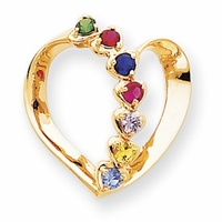 14k Mother Pendant Heart with Seven Birthstones