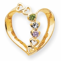 14k Mother Pendant Heart with Three Birthstones
