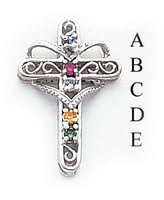 14k Mother's Cross Pendant with Five Birthstones