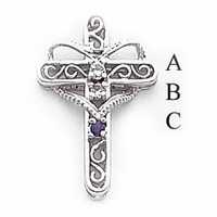 14k Mother's Cross Pendant with Three Birthstones