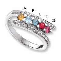 14k Mother's Day Ring with 5 Genuine Birthstones and Diamond Accents