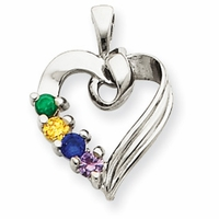14k Mother's Heart Necklace with Four Birthstones