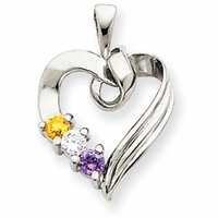 14k Mother's Heart Necklace with Three Birthstones