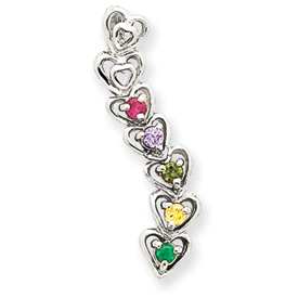 14k Mother's Heart Pendant with Five Birthstones