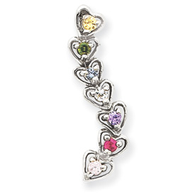 14k Mother's Heart Pendant with Seven Birthstones