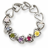 14k Mother's Heart Pendant with Seven Genuine Birthstones