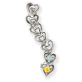 14k Mother's Heart Pendant with Two Birthstones