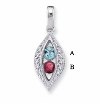14k Mother's Pendant with Two Genuine Birthstones in Channel Setting