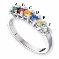 14k Mother's Ring with 6 Genuine Birthstones and Diamond Accents