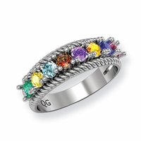 14k Mother's Ring with Eight Birthstones