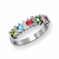 14k Mother's Ring with Five Genuine Birthstones