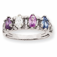 14k Mother's Ring with Four Marquise Cut Birthstones
