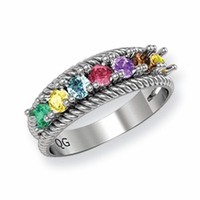 14k Mother's Ring with Seven Birthstones