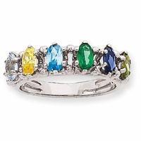 14k Mother's Ring with Six Marquise Cut Birthstones