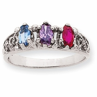 14k Mother's Ring with Three Marquise Cut Birthstones