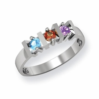 14k Ring for Mom with Three Birthstones