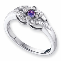 14k Unique Mother's Birthstone Ring with Diamond Accents