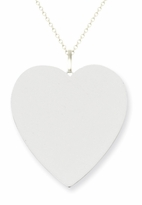 14k White Gold Initial Pendant Necklace Heart Shaped 26mm
