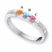 14k White or Yellow Gold Mother's Day Ring with 3 Birthstones