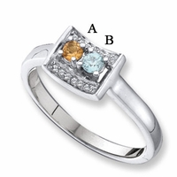 14k White Gold Mother's Day Ring with Two Birthstones