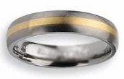 14k Yellow Gold Inlay Titanium Ring Matte Finish in 5mm