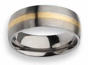 14k Yellow Gold Inlay Titanium Ring Matte Finish in 8mm