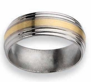14k Yellow Gold Inlay Titanium Ring Matte & Polish Finish in 8mm