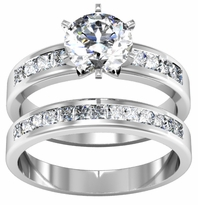 14kt 1.00cttw Princess Cut Diamond Wedding Set