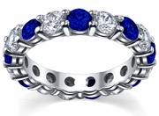 Diamond and Sapphire Eternity Ring 4.00cttw
