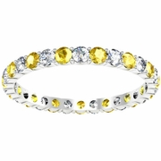 Diamond Yellow Sapphire Eternity Wedding Band